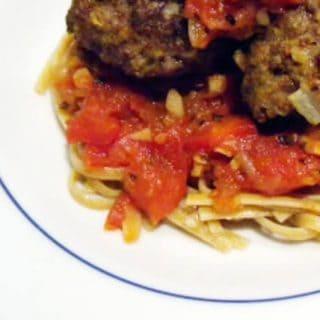 Spaghetti and Bison Meatballs
