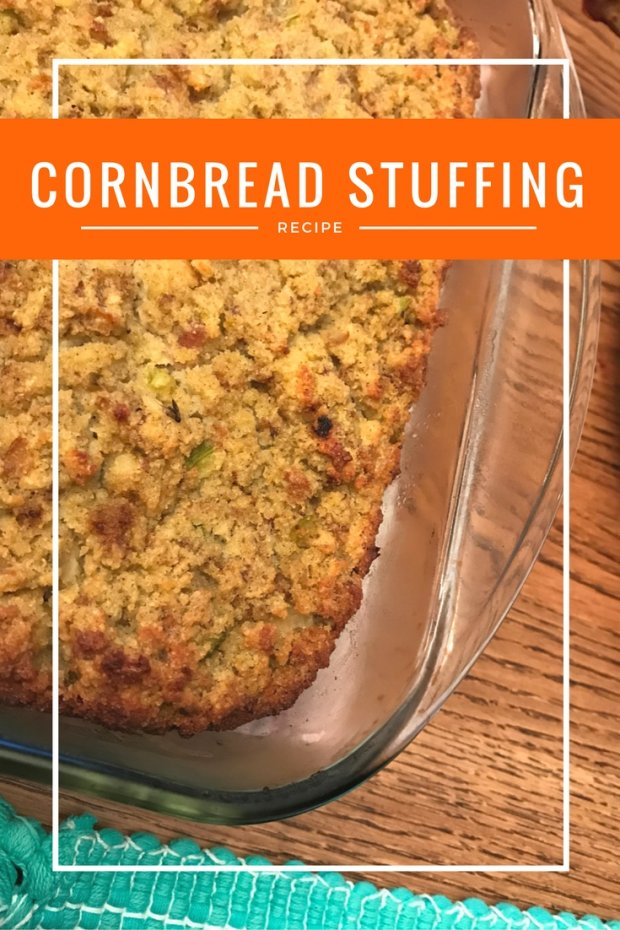 Cornbread stuffing in glass baking dish