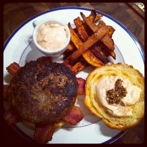 Best Bacon Cheeseburger with Oven Yam Fries
