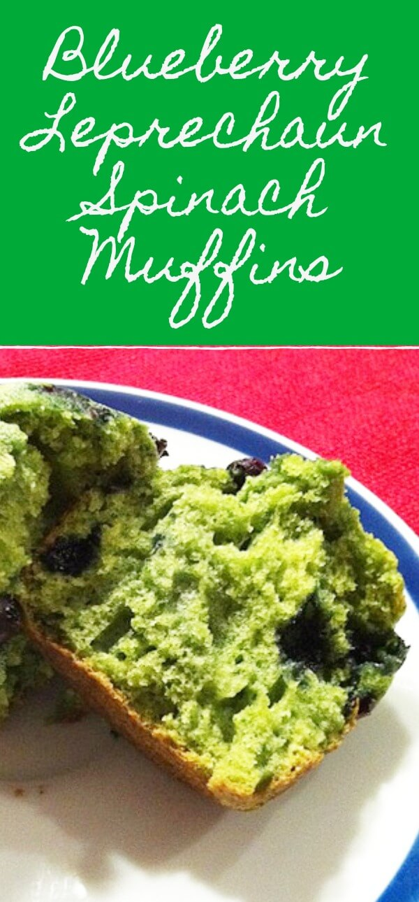 Blueberry Leprechaun Spinach Muffins