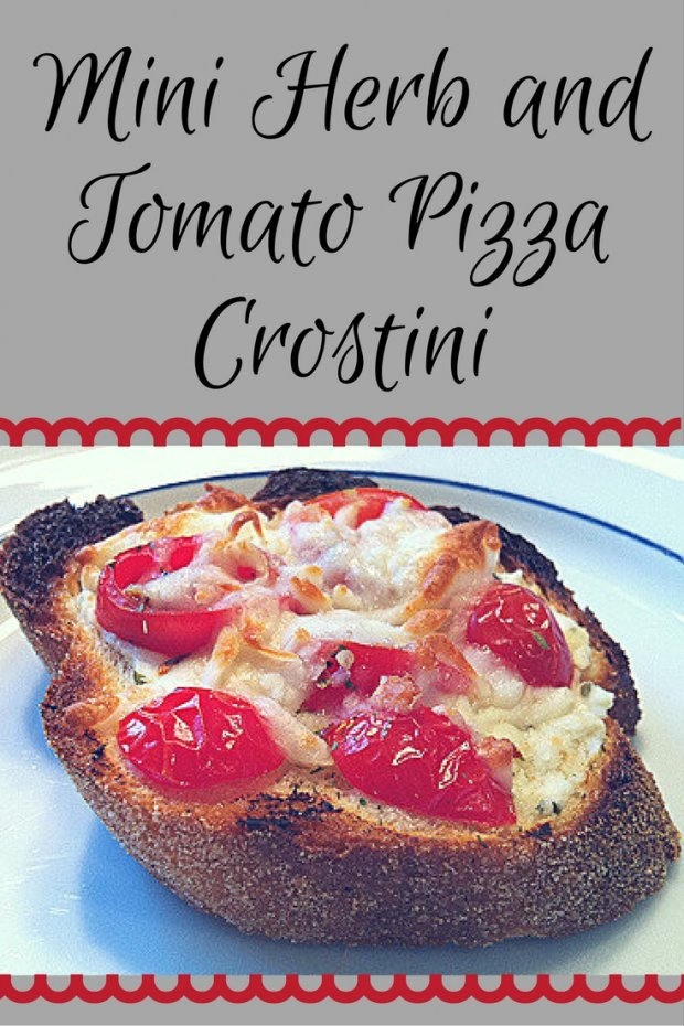 Mini Herb and Tomato Pizza Crostini