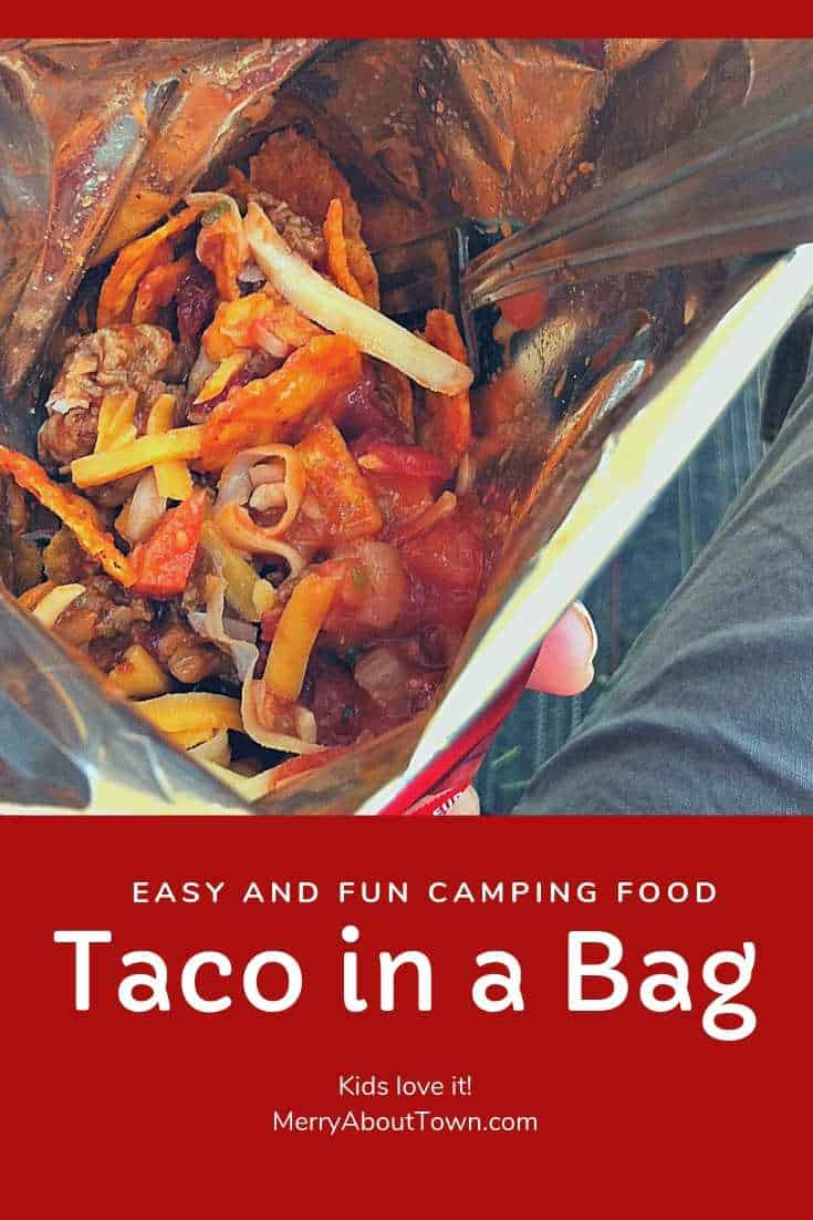 Looking for a fun and easy camping lunch idea? Try out Taco in a Bag. It's easy, delicious and kids LOVE it! Yum! #campingfood