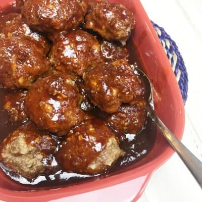 Honey Garlic Meatballs in a red dish