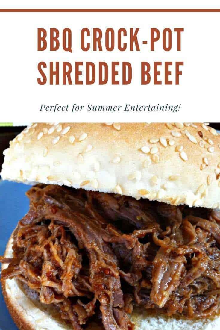 bbq crock-pot shredded beef on a bun
