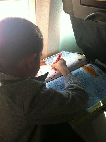 Sticker book on plane