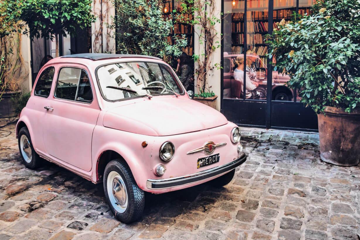 Pink Fiat in Paris