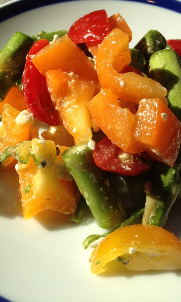 Asparagus, tomato and bell pepper salad.