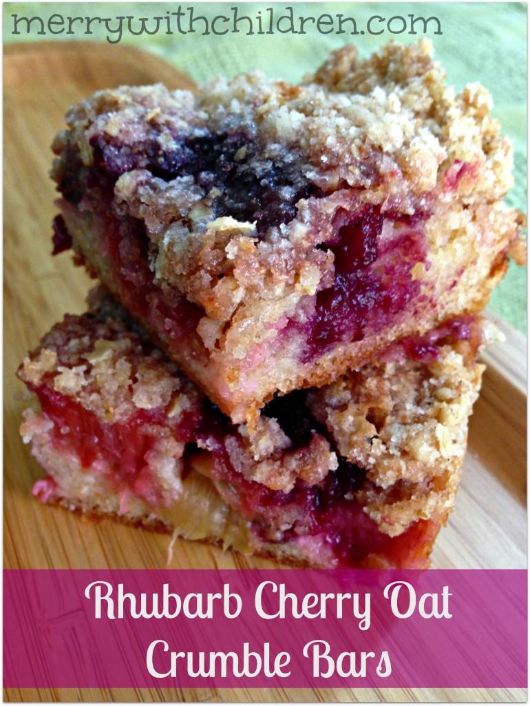 Rhubarb Cherry Oat Crumble Bar
