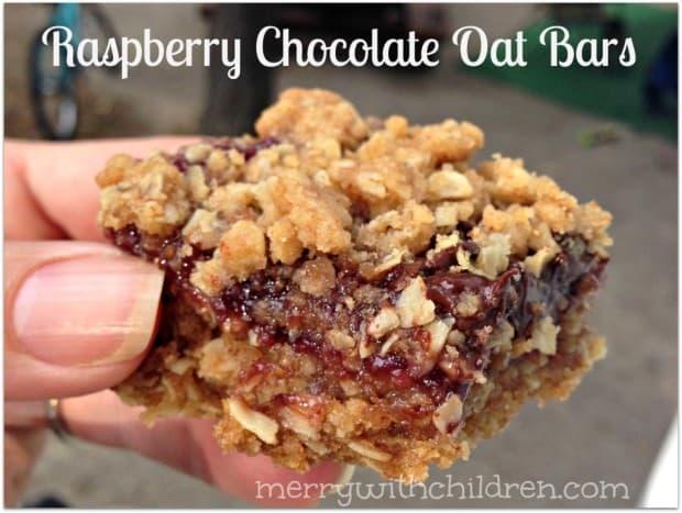 Raspberry Chocolate Oat Bars