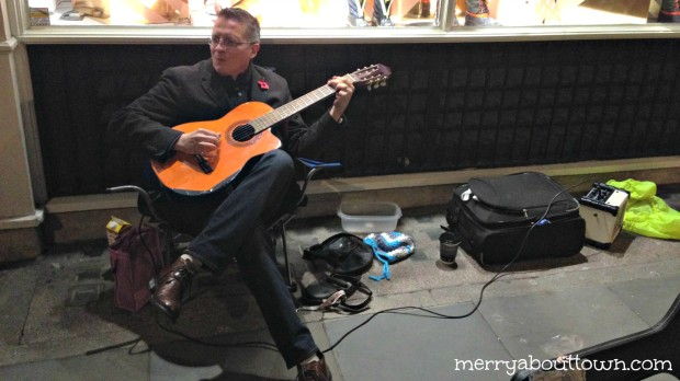 Dewey busking in Covent Gardens