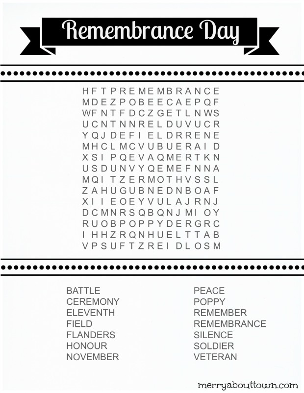 Remembrance Day Wordsearch Printable