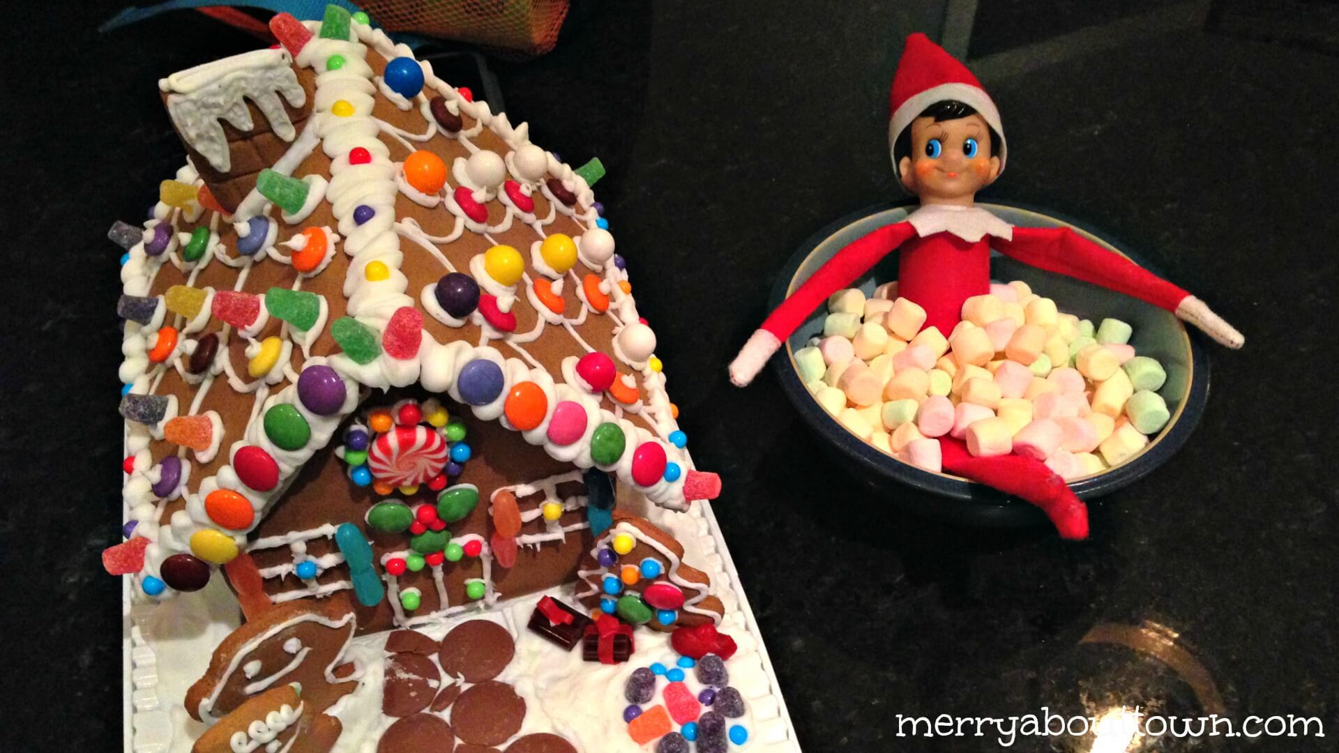 Elf on the shelf in a marshmallow hot tub