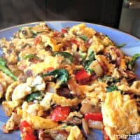 Paleo Breakfast - Messy Egg, Bacon and Veggie Scramble