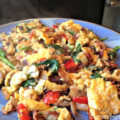 Easy Paleo Breakfast - Messy Egg, Bacon and Veggie Scramble
