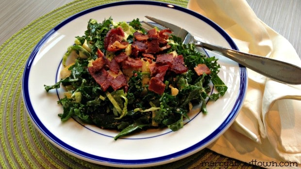 Kale and Brussel Sprouts Salad with Pears and Bacon