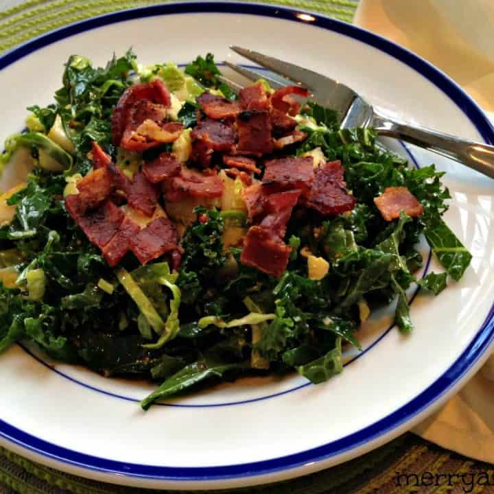 Kale and Brussels Sprout Salad with Pear and Bacon