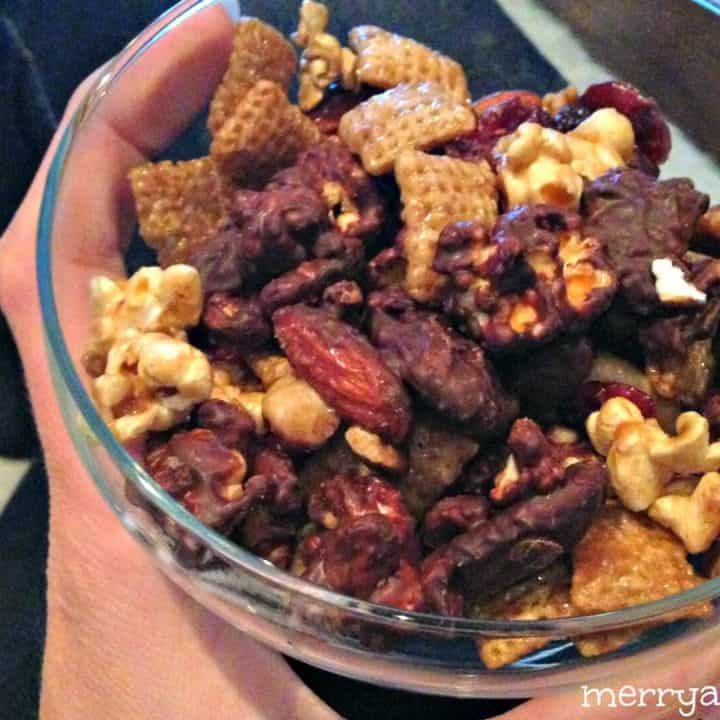 Awards Show Worthy Caramel Corn and Chocolate Chex Mix