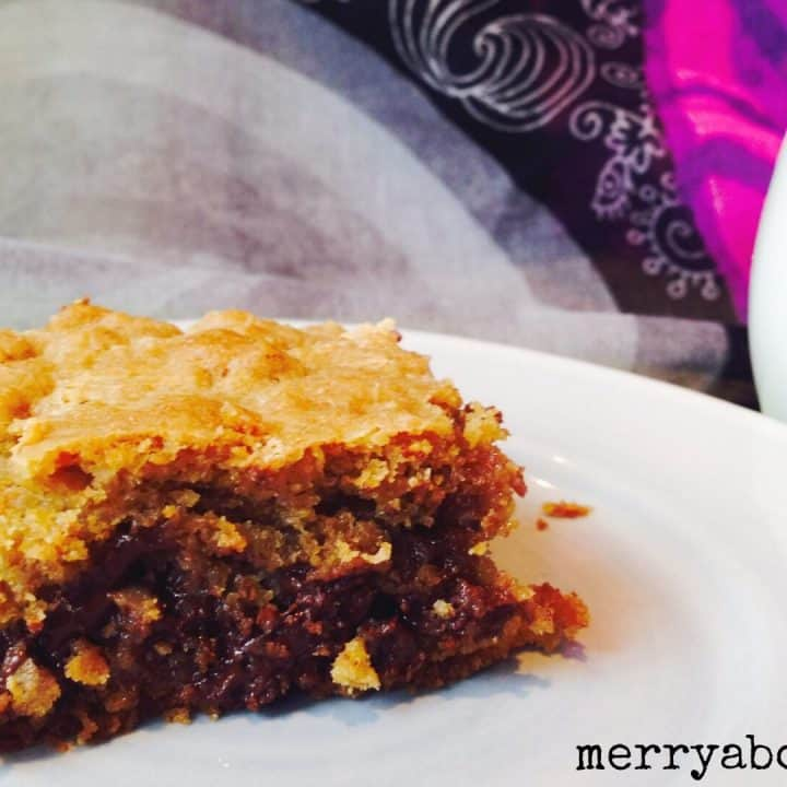 Ooey Gooey Chocolate Butterscotch Pecan Cookie Bars - Merry About Town