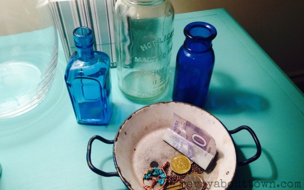 Antiques bottles and dish - Merry About Town