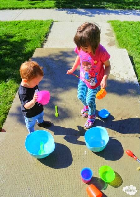 Playing outdoor kids games