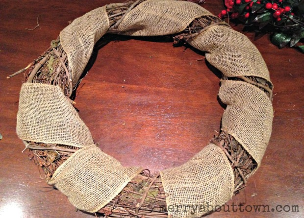 Burlap Wrapped Wreath - Merry About Town