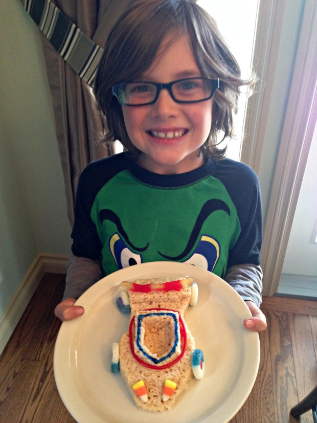 Happy boy with his Rice Krispies Racecar - Merry About Town