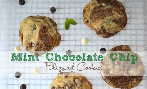 Mint choc chip blizzard cookies