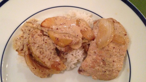Pork Chops with Mustard Sauce and Apples - Merry About Town