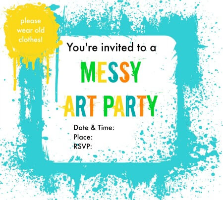 messy art party invitations merry about town