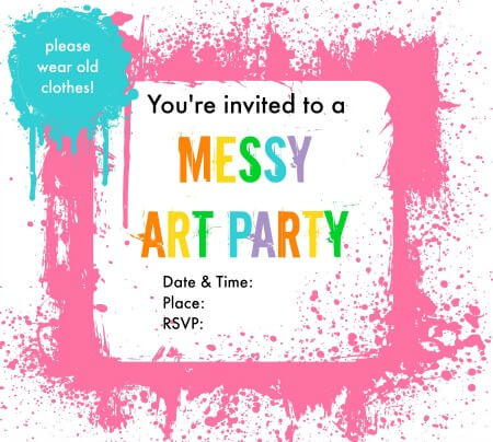 messy art party invitations - merry about town, Party invitations