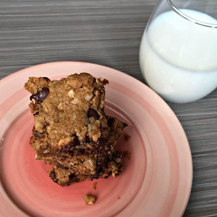 Flourless Oatmeal Peanut Butter Chocolate Chip Bar Cookies