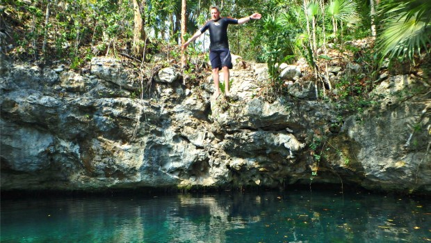 Jumping in to an open cenote
