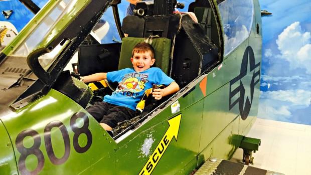Evan pretending he is a pilot