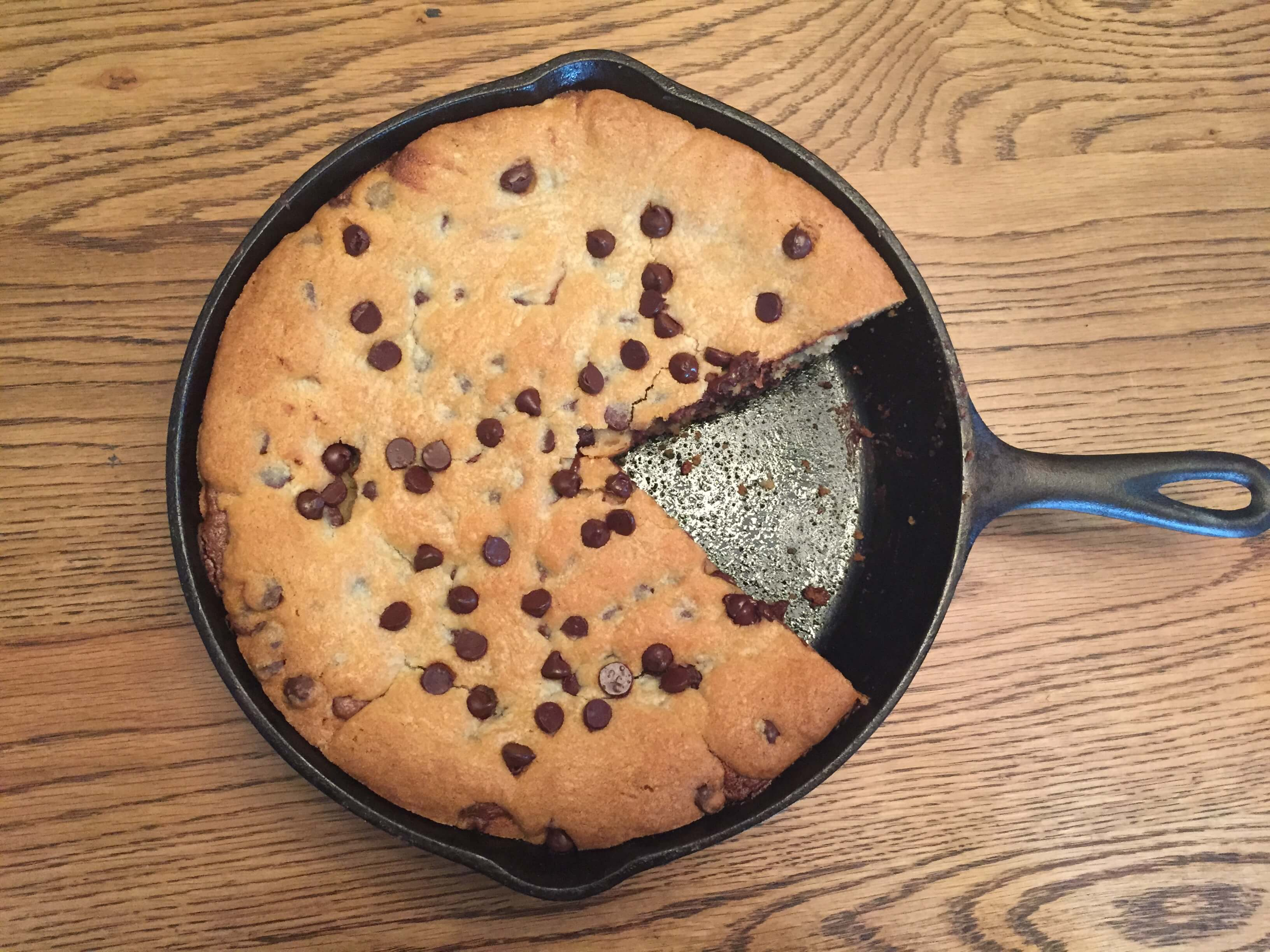 Reese Spread Stuffed Chocolate Chip Skillet Cookie