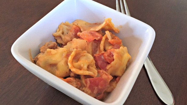 Cheesy Italian Sausage and Tortellini Skillet - Merry About Town