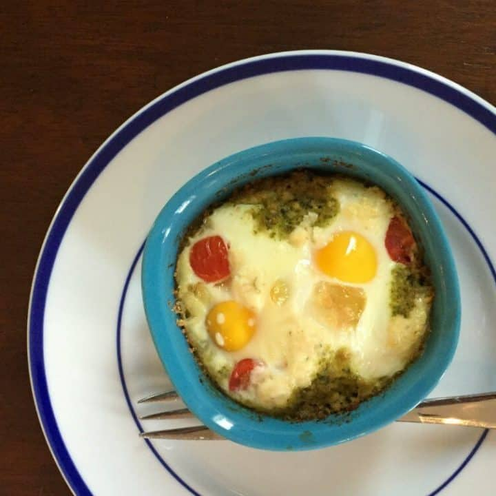 Pesto and Boursin Baked Eggs
