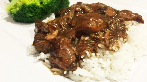 Beef Tips and Mushrooms with Rice