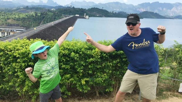 Checking out the Dam at Cheow Lan Lake in Khao Sok.