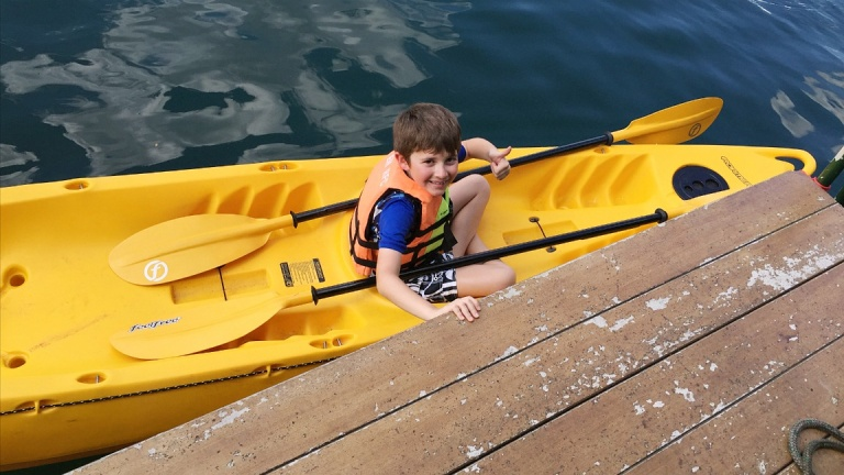 Evan loved the kayaks