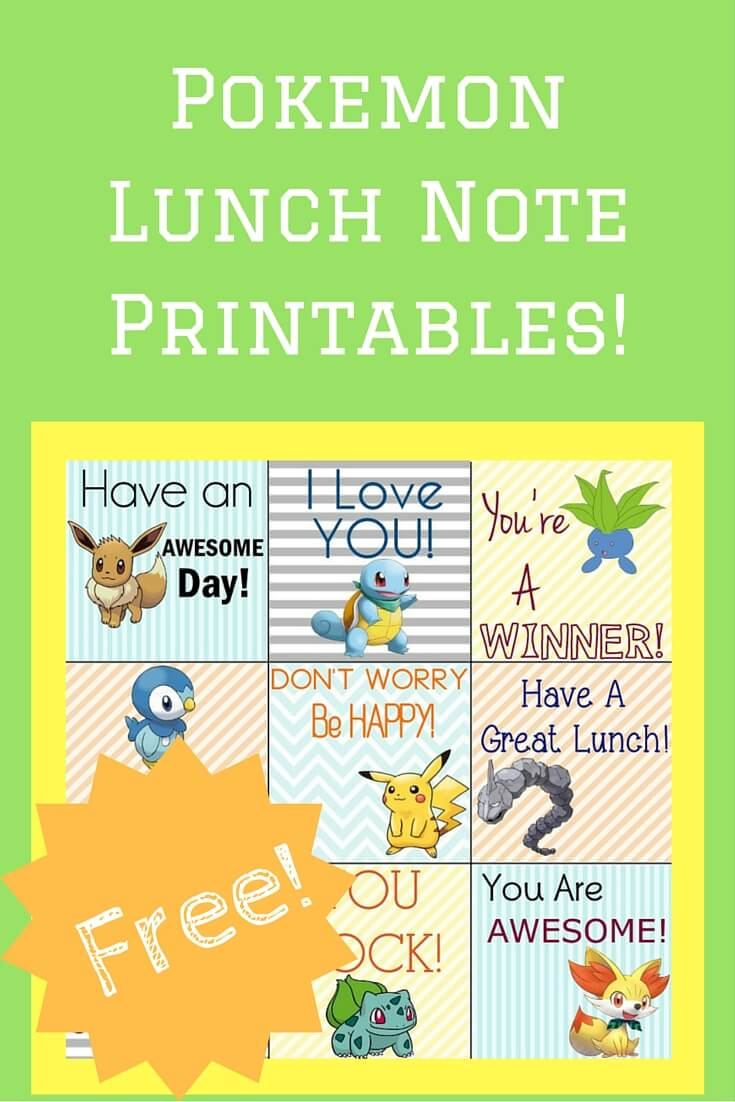 Free Pokemon Printable Lunch Notes!