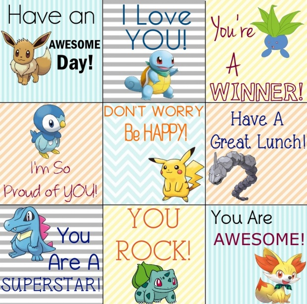graphic relating to Printable Lunch Notes referred to as Pokemon Printable Lunch Notes for Your Tiny PokeMaster