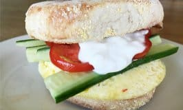 Greek Inspired English Muffin and Egg Sandwich