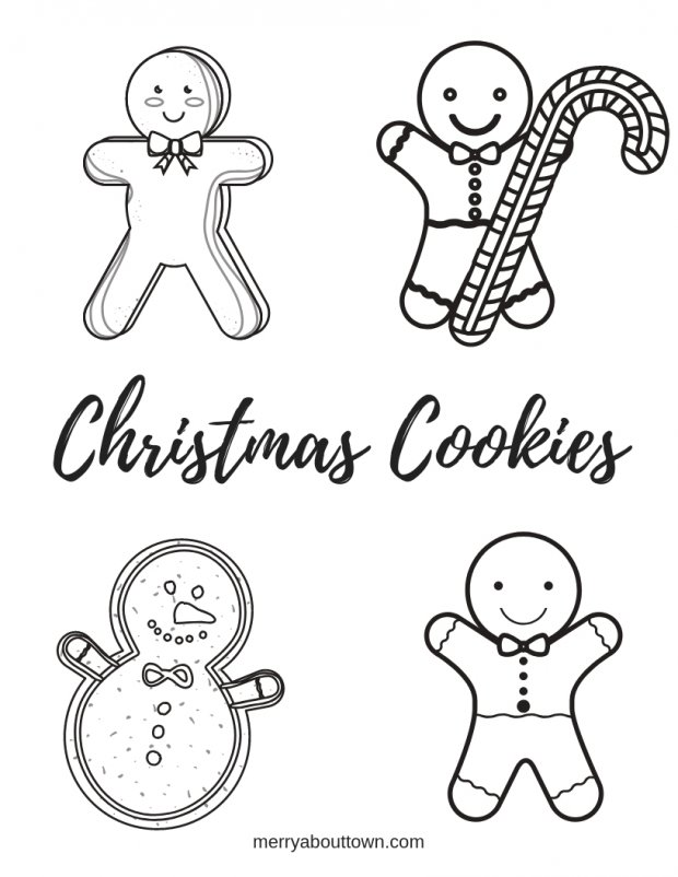 Christmas Cookies colouring sheet