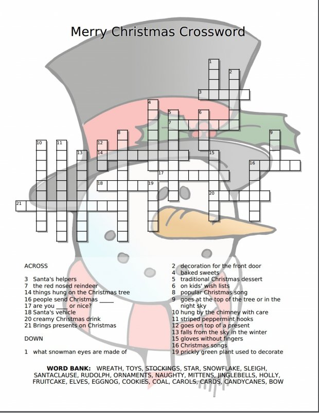 image relating to Holiday Crossword Puzzles Printable identified as Merry Xmas Crossword Absolutely free Printable - Merry With regards to City
