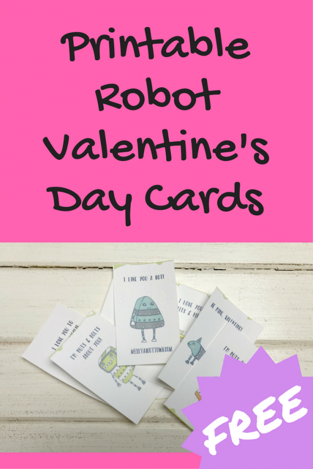 FREE Printable Robot Valentines Day Cards