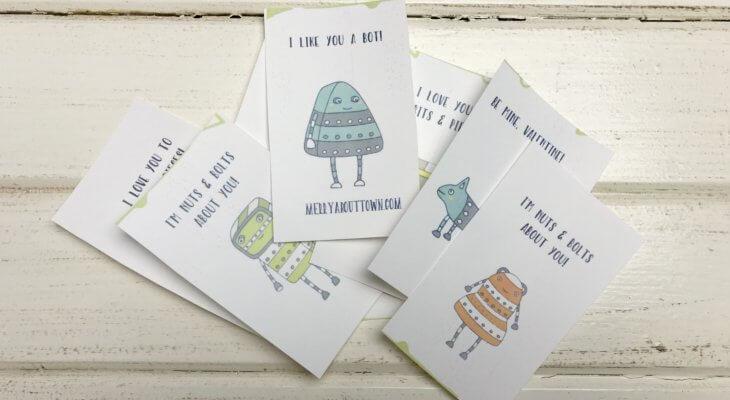 Free Printable Valentines Cards Robots