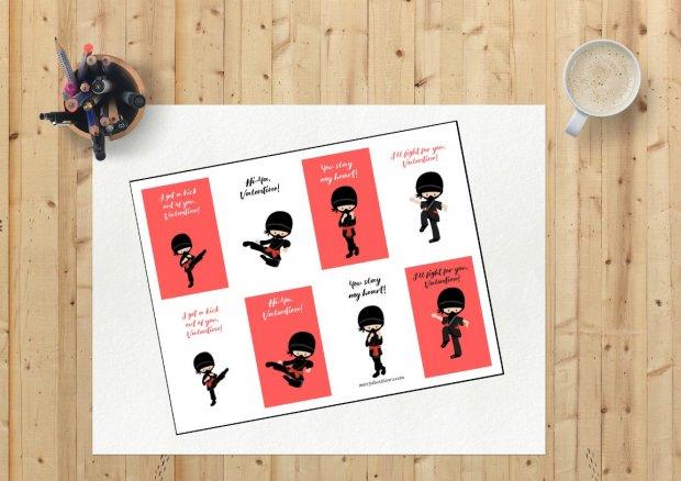Ninja Printable Valentine's Cards