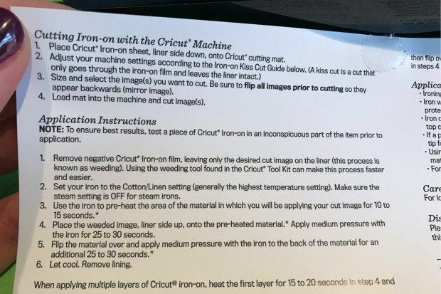 Cricut Iron On Info