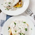Waffle Eggs Benedict with Mushroom Sauce