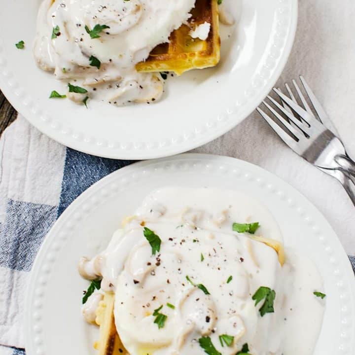 Waffle Eggs Benedict with Mushroom Sauce